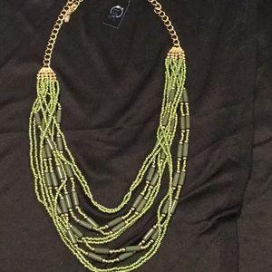 Lenox, Goldtone Green Beaded Necklace